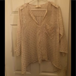 Collective Concepts Cream Top with Gold Polka Dots